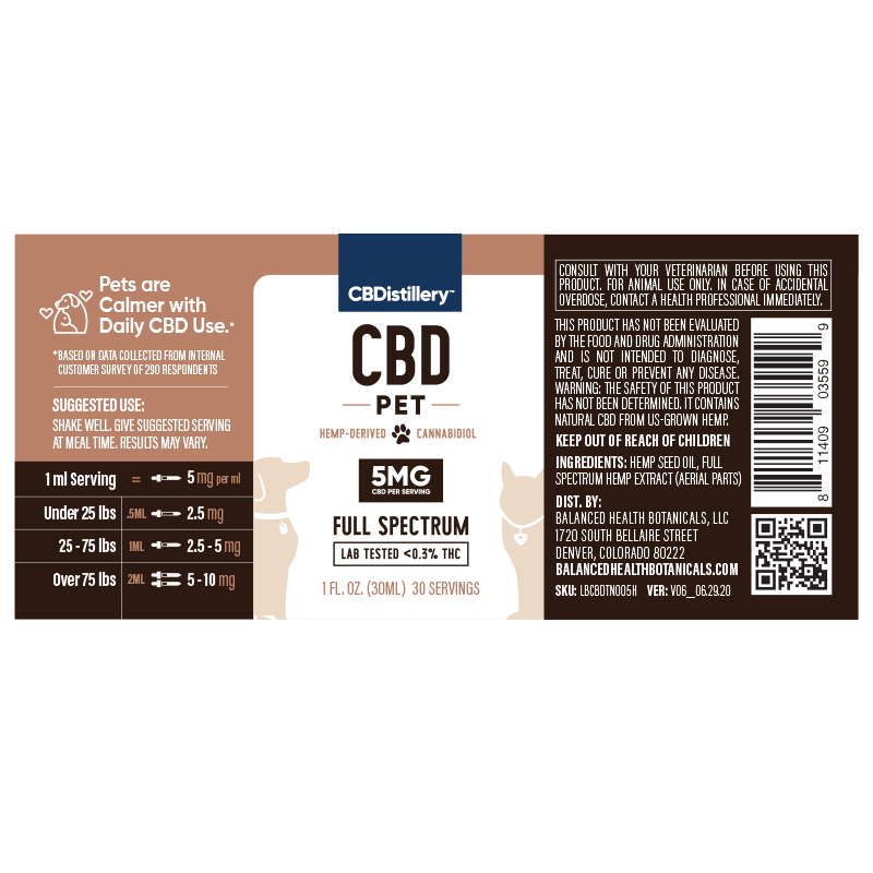 CBDistillery 150mg CBD Pet Oil Tincture For Dogs, Cats and Animals Supplement Facts Label