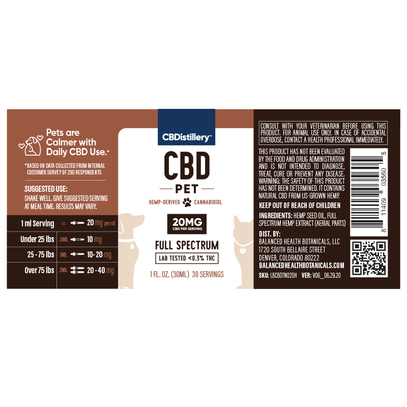 CBDistillery Pet CBD Oil 600mg Large Pets Supplement Facts Label