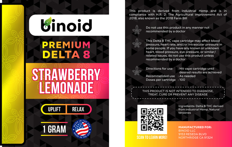 Delta 8 THC Vape Cartridge Buy Online Strawberry Lemonade Legal hemp