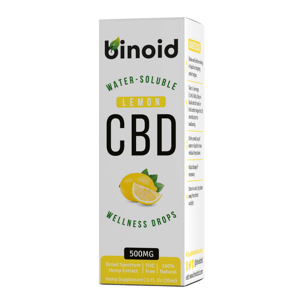 Binoid CBD Oil Nano Water Soluble Wellness Drops Flavored THC-Free Broad Spectrum Zero Lemon Flavor Box