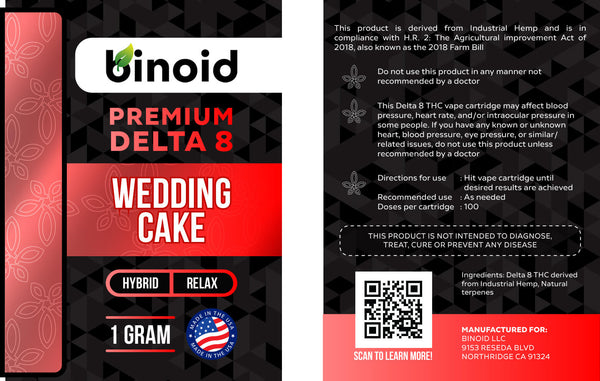 Delta 8 THC Vape Cartridge Wedding Cake Hybrid Terpene Flavor