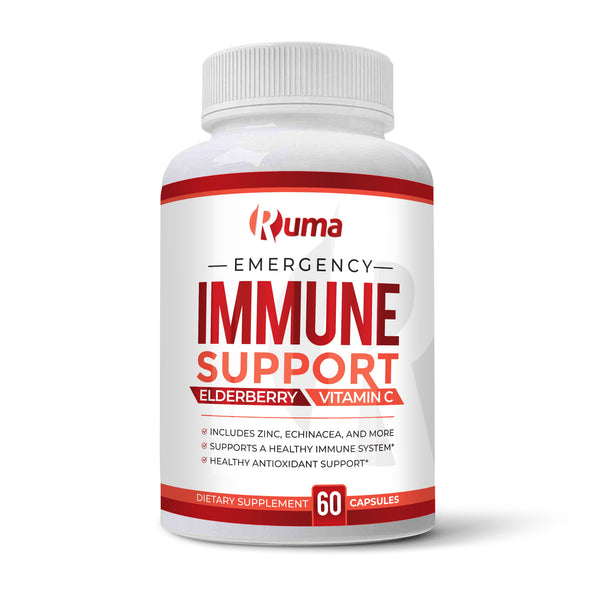 Ruma Immune Support Supplement - Immunity Booster - Vitamin C, Zinc, Elderberry, Echinacea, Garlic, Turmeric
