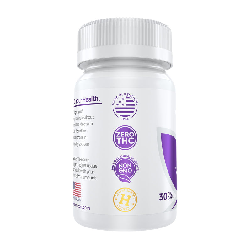 Medterra CBD gel capsules 25mg label facts