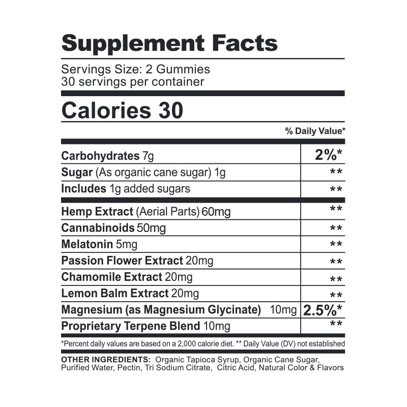 CBDfx CBD Gummies Melatonin Supplement Facts 1500mg New