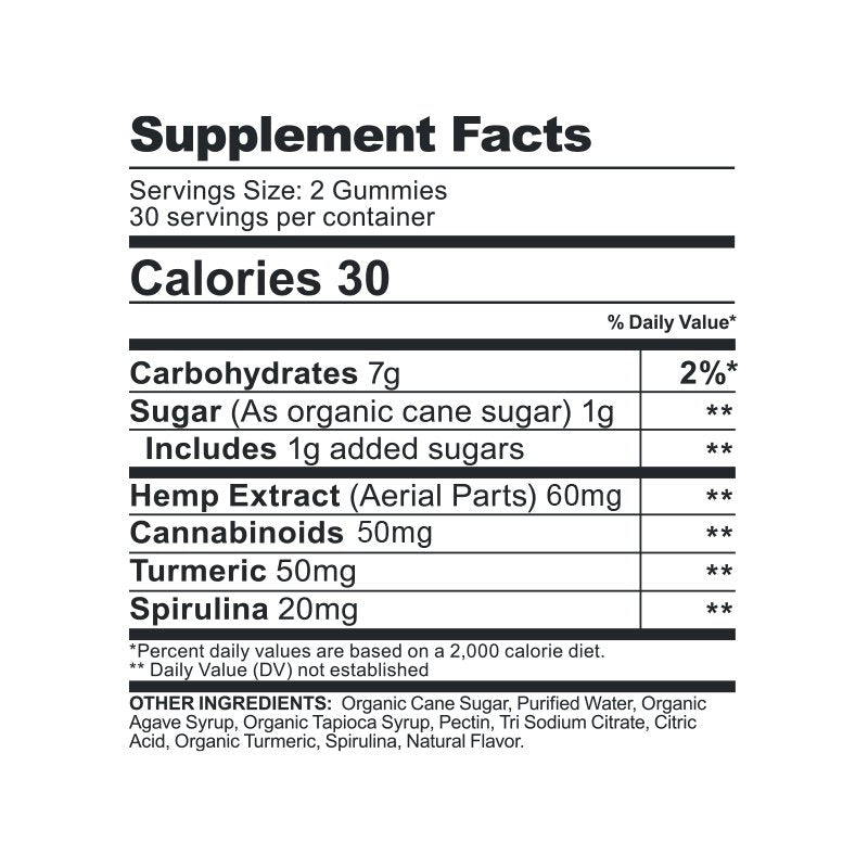CBDfx CBD Gummies 1500mg Turmeric Spirulina Supplement Nutritional Facts calories