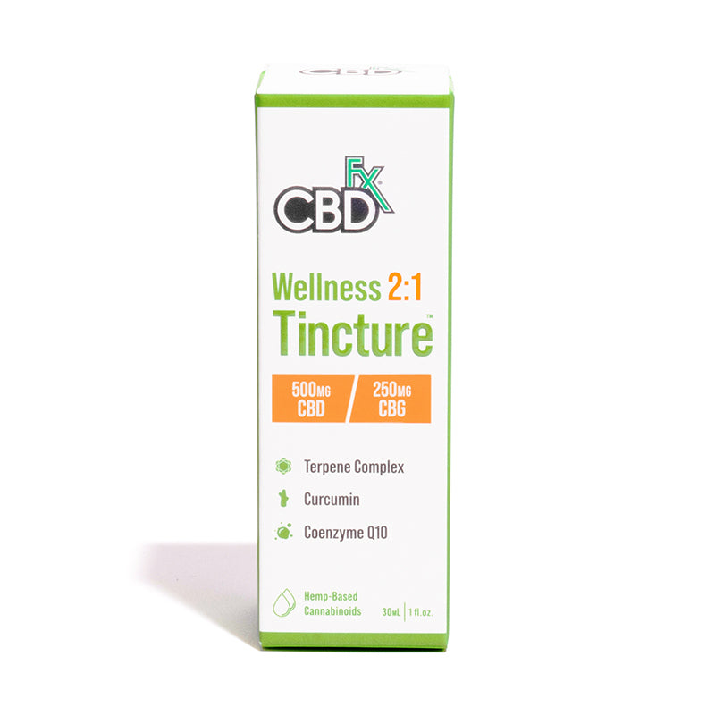 CBDfx CBD + CBG Oil Wellness Tincture 2:1 Box Packaging Terpenes Curcumin Coenzyme Q10