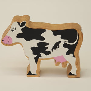 Wooden Black & White Cow