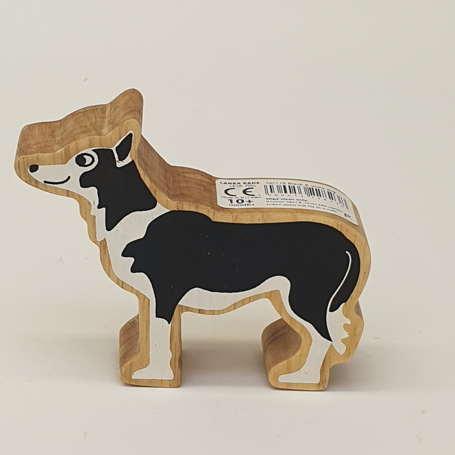 Wooden Black & White Dog