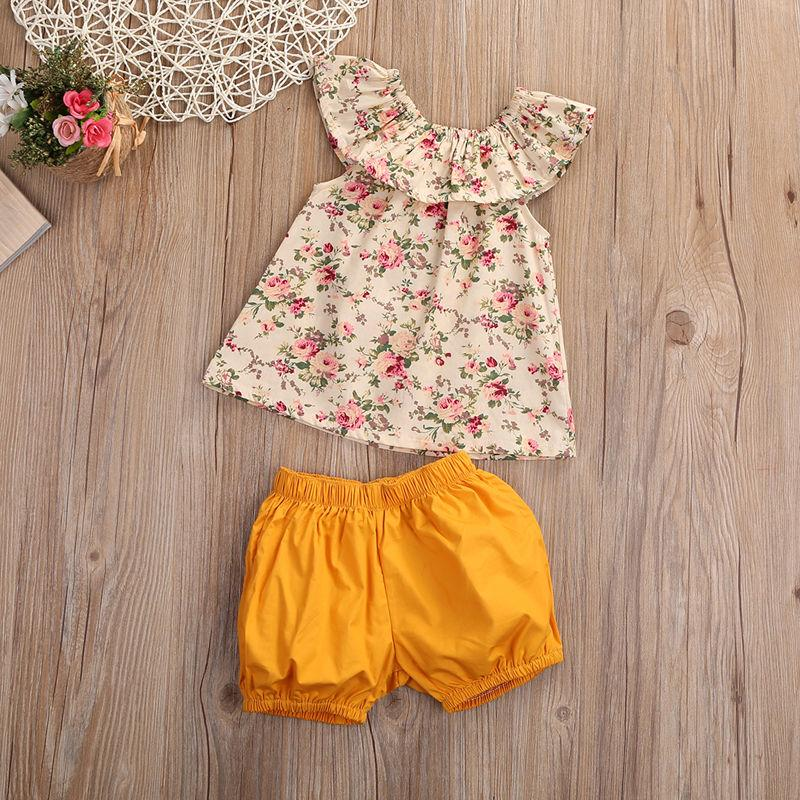 2-Pcs Baby Girl Floral Off Shoulder Top and Orange Bloomers Outfit