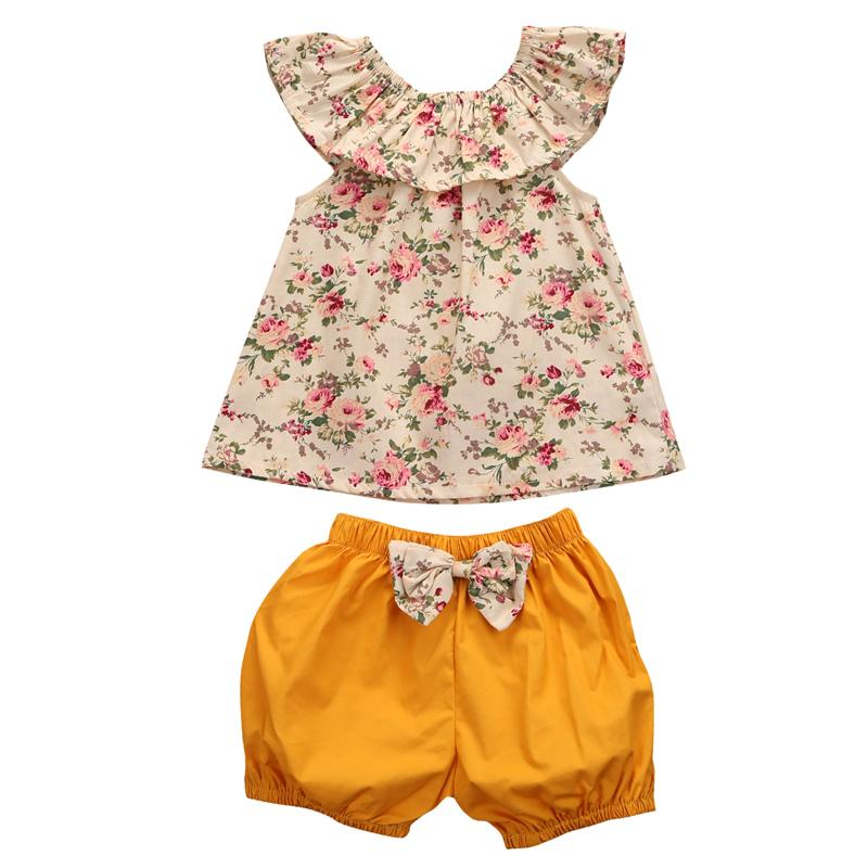 2-Pcs Baby Girl Floral Off Shoulder Top and Bow Tie Bloomers Outfit