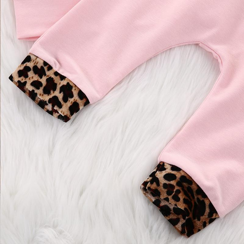 2-Pcs Baby Girl Pink Leopard Hoodie Tracksuit Jogger Set