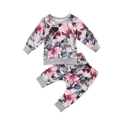 2-Pcs Baby Girls Floral Top And Pants Outfit Set - grey and pink