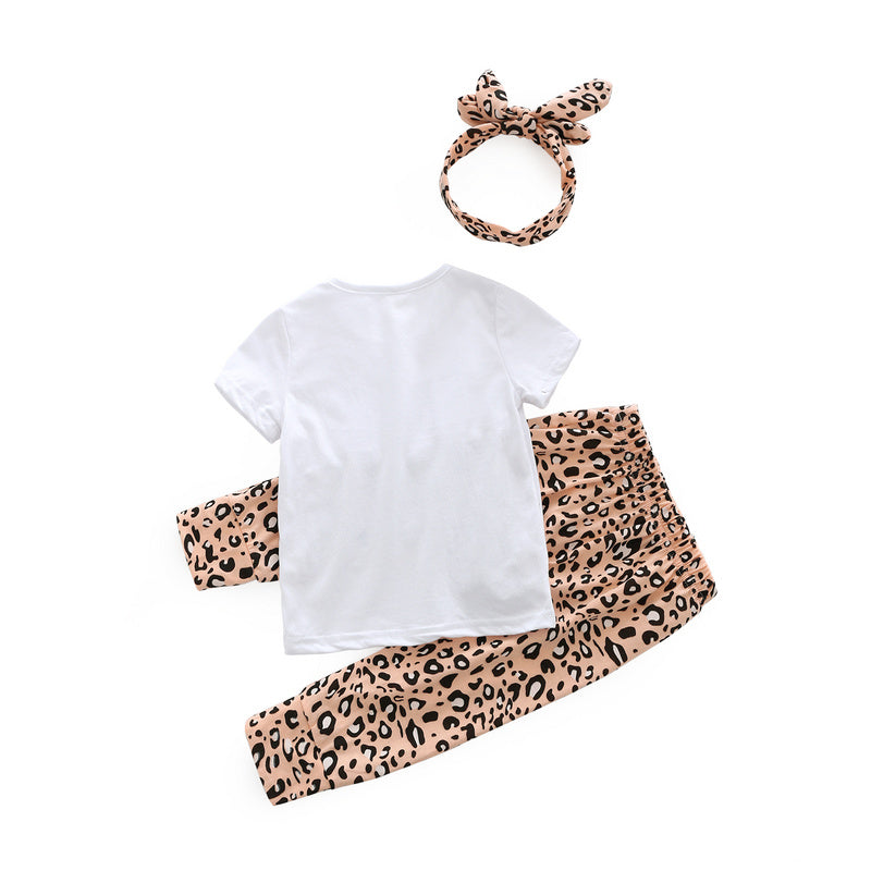 3-Pcs Baby Girl Letter Printed Outfit Set With T-Shirt, Leopard Pants And Headband