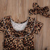 3-Pcs Baby Girl Leopard Clothing Set With Denim Shorts & Headband