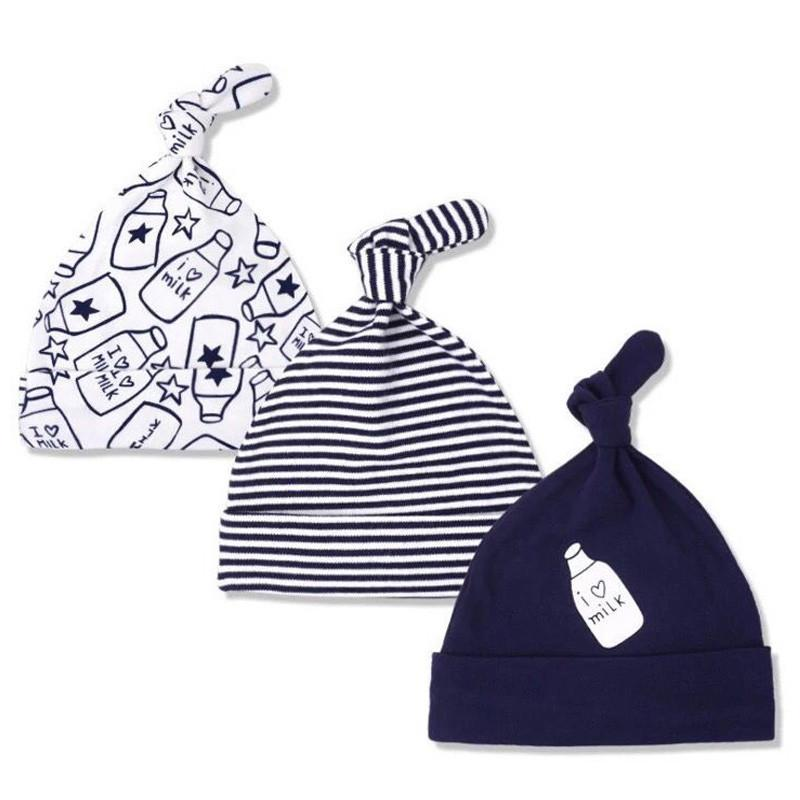 3 Pack Baby Boy Top Knot Hats - navy blue
