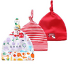 3 Pack Baby Boy Top Knotted Red Hats