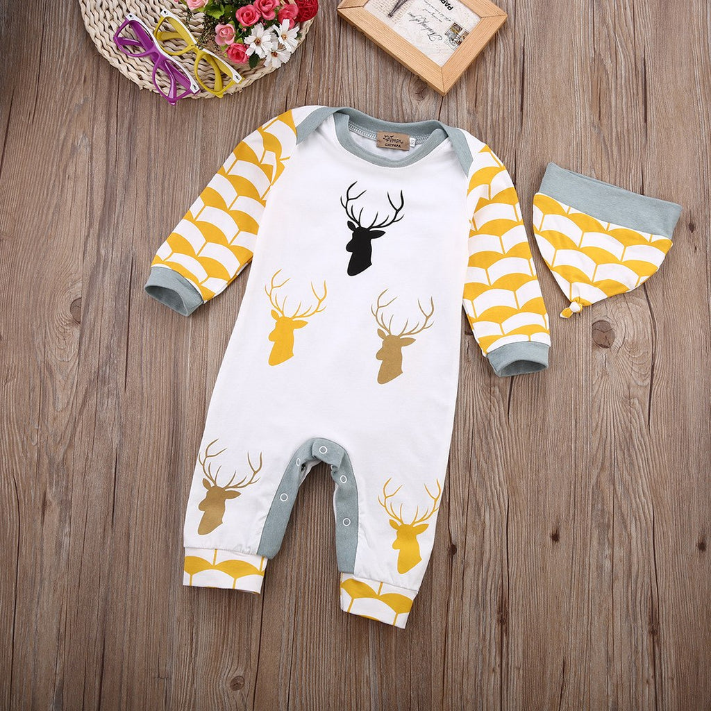 Adorable Baby Boy Deer Long Sleeve Romper With Hat