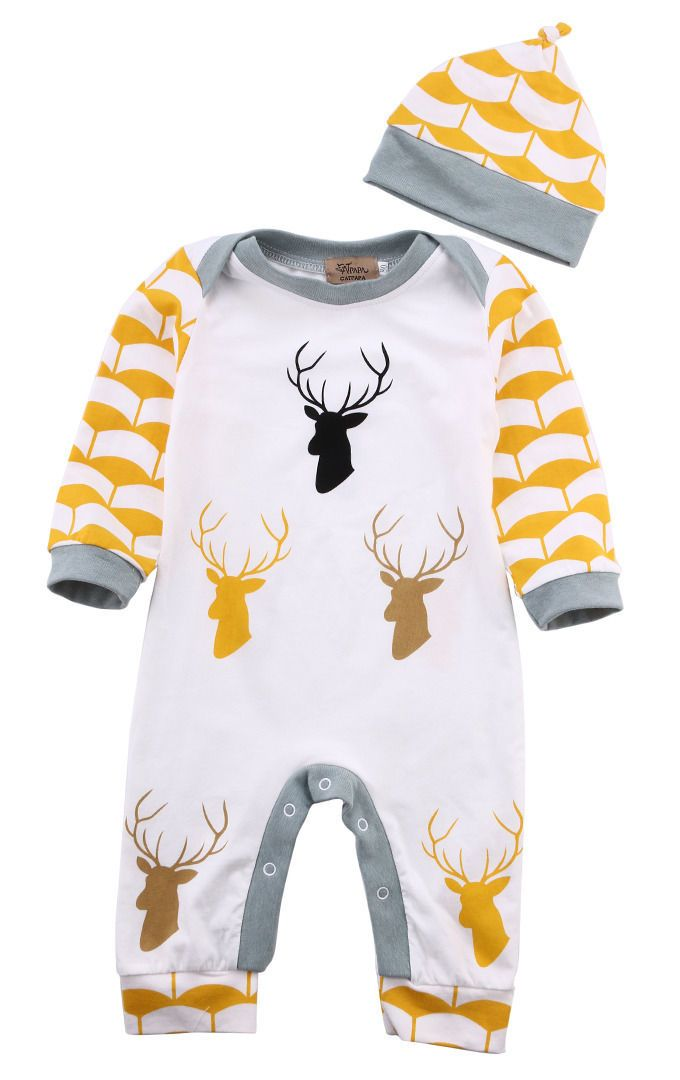 Animal print Baby Boy Deer Long Sleeve Jumpsuit With Hat - yellow and grey