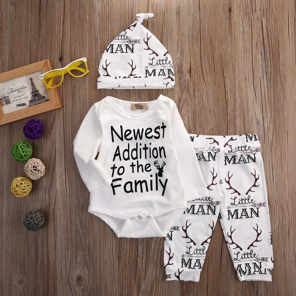 Baby Boy 3-Pcs Deer Hat, Bodysuit & Pants Set, Welcome To The World Gift
