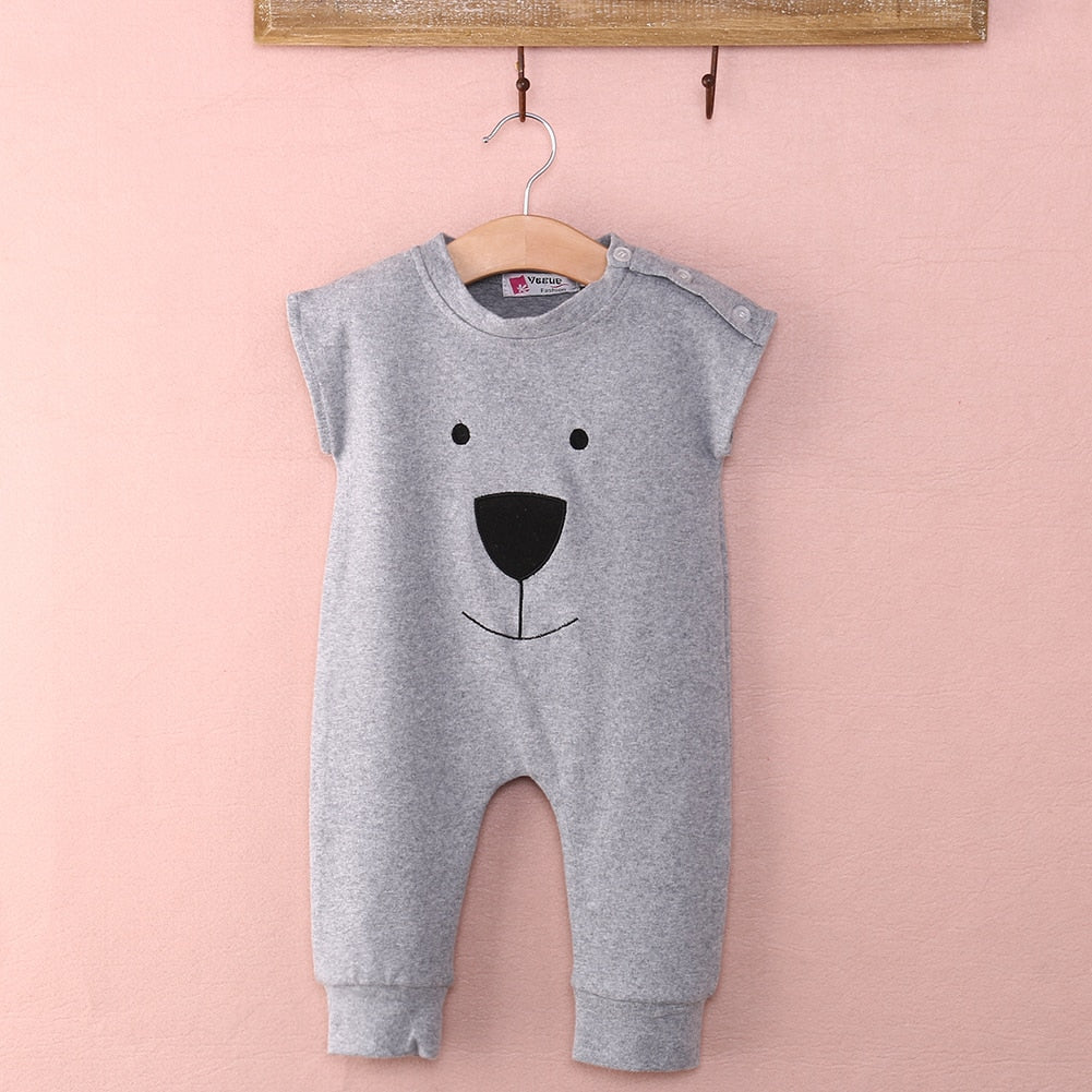 Baby Boy Sleeveless Baby Bear Cotton Jumpsuit For Baby & Toddler