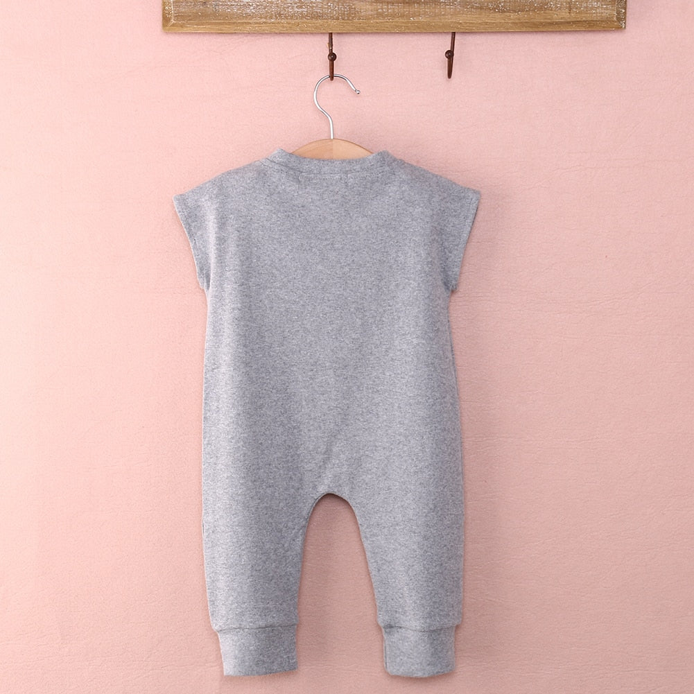 Baby Boy Sleeveless Baby Bear Cotton Romper - grey