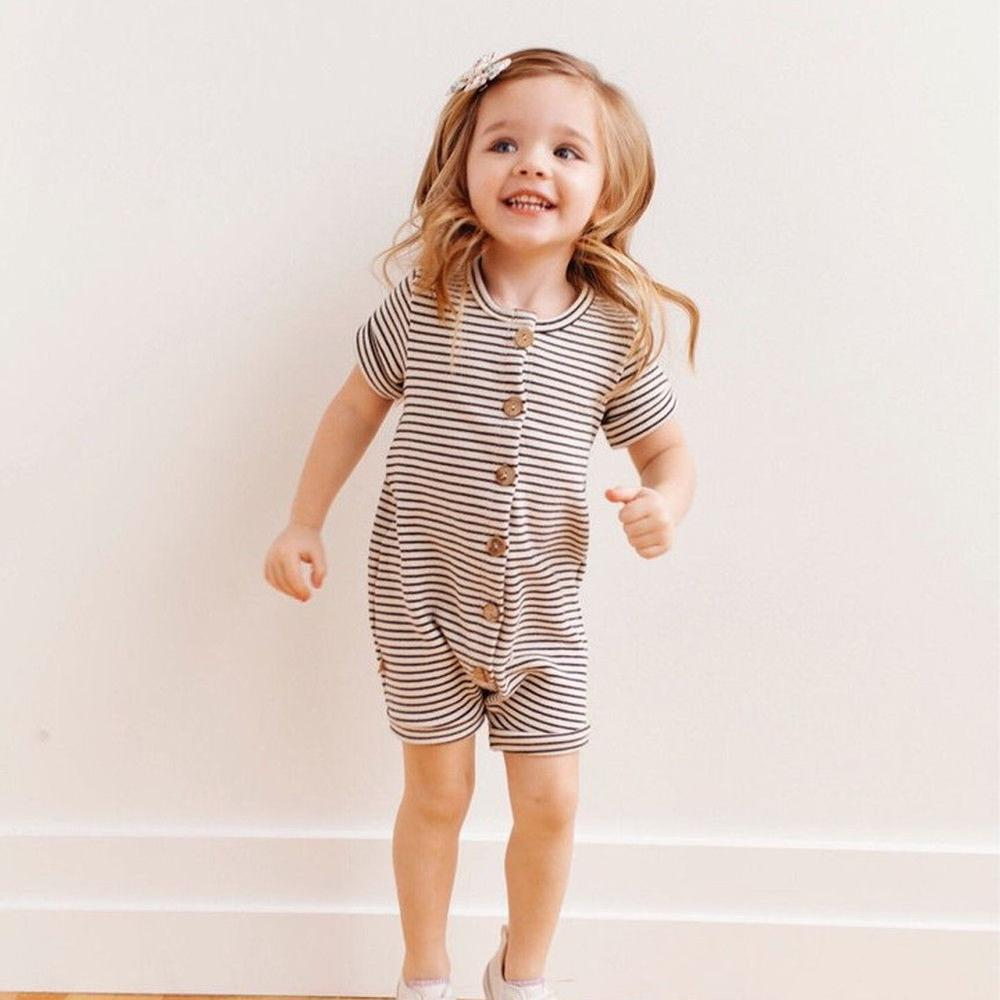 Toddler Girls Short Sleeve Stripe Romper