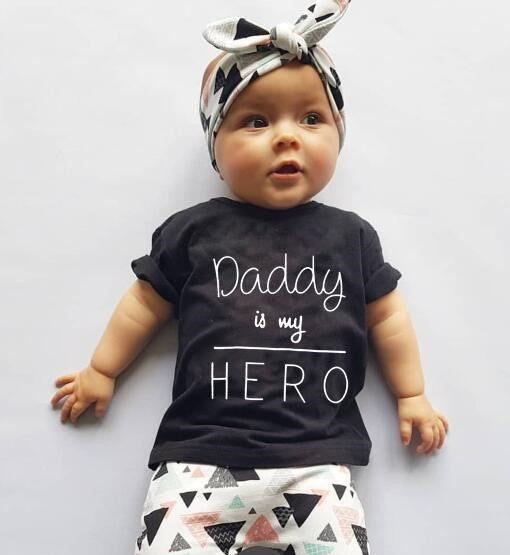 Baby Girl Daddy Is My Hero T-Shirt, Pants, Headband Baby Outfit