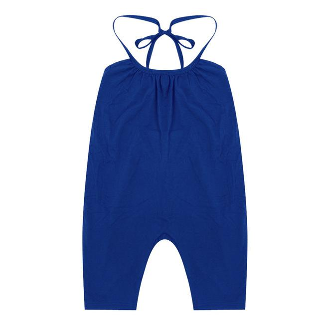 Baby Girl One Piece Strappy Overalls - blue