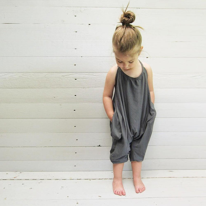 Baby Girl One Piece Strappy Overalls - grey