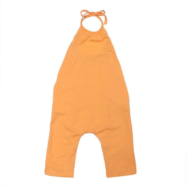 Baby Girl One Piece Strappy Overalls - orange