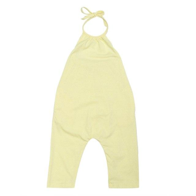 Baby Girl One Piece Strappy Overalls - yellow