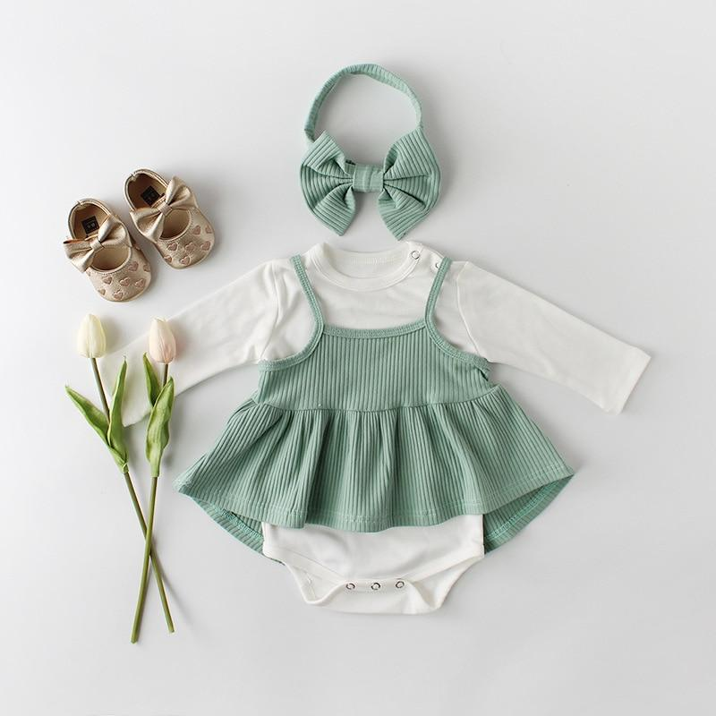 Baby Girl Outfit Set, Bodysuit, Dress & Headband - green