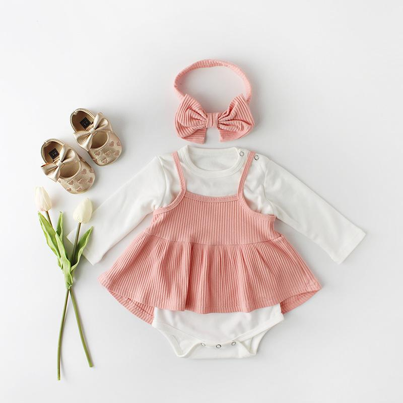 Baby Girl Outfit Set, Bodysuit, Dress & Headband - pink