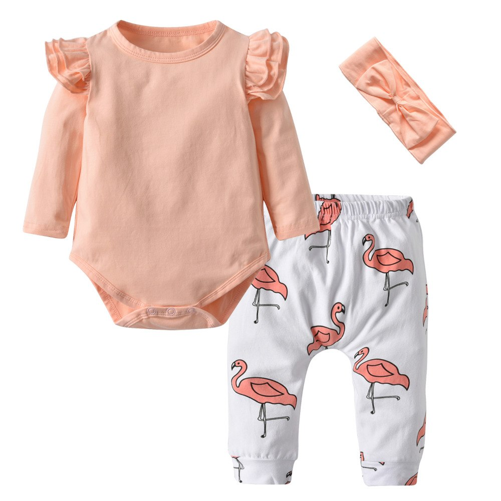 Baby Girl Outfit With Pink Bodysuit, Flamingo Pants And Headband