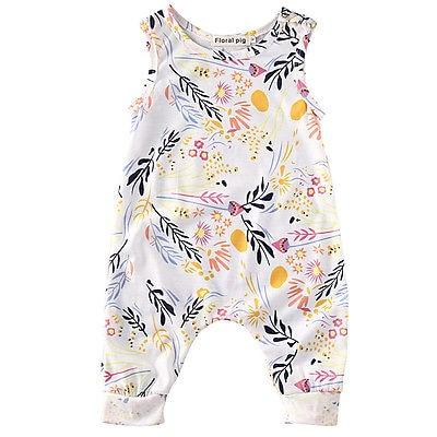 Baby Girl Sleeveless Floral Romper, Newborn & Toddler
