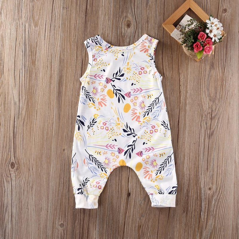 Cute Baby Girl Sleeveless Floral Romper, Newborn & Toddler