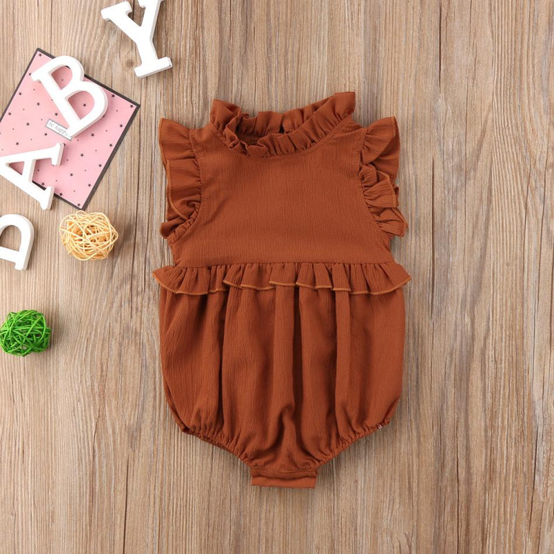 Baby Girl Sleeveless Ruffle Romper For Infant & Toddler - brown