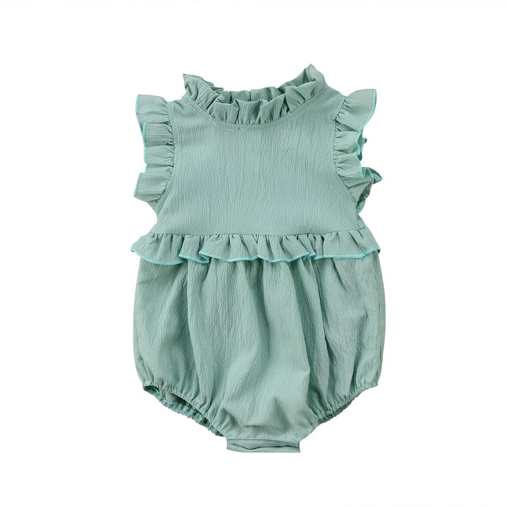 Baby Girl Sleeveless Ruffle Romper For Infant & Toddler - mint green