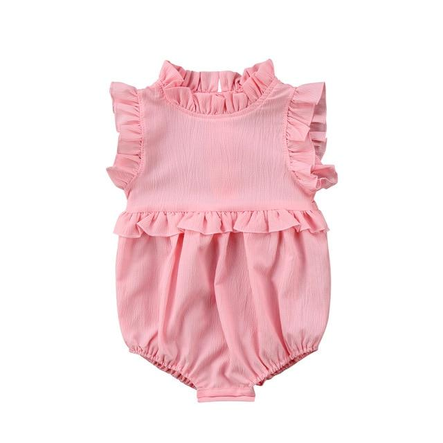 Baby Girl Sleeveless Ruffle Romper For Infant & Toddler - pink