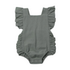 Baby Girl Solid Ruffle Sleeveless Romper - green