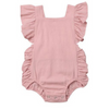 Baby Girl Solid Ruffle Sleeveless Romper - pink
