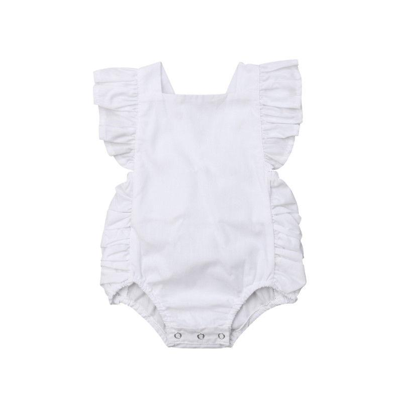 Baby Girl Solid Ruffle Sleeveless Romper - white