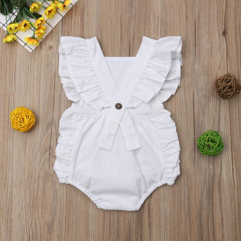 Baby Girl Solid Ruffle Sleeveless Romper