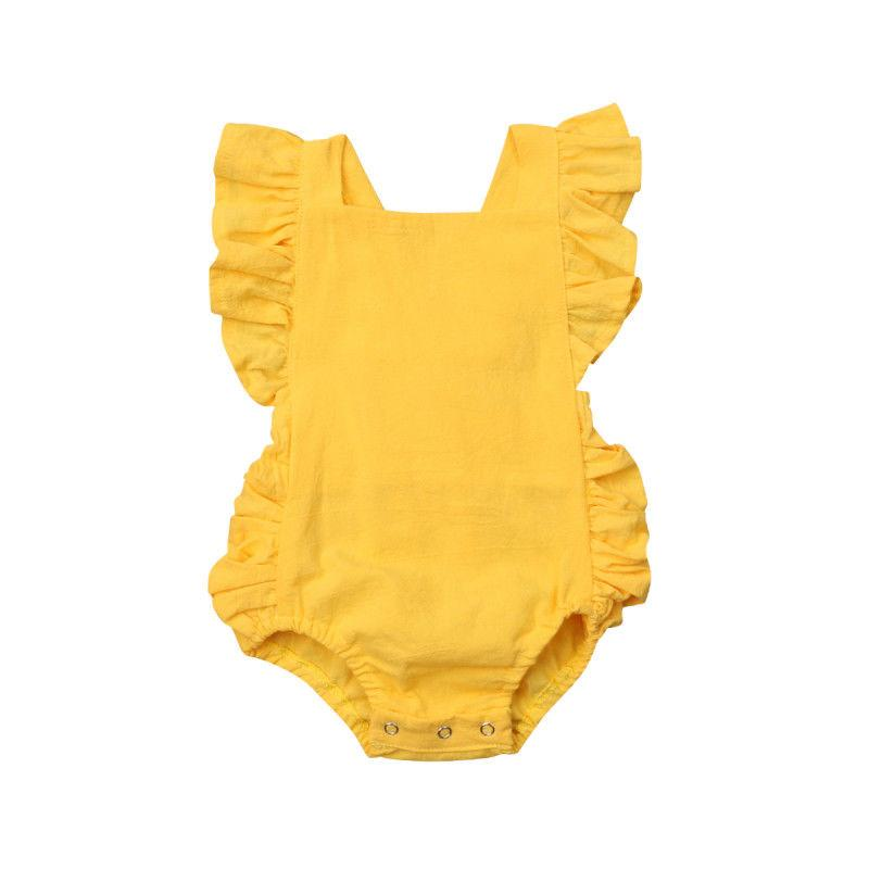 Baby Girl Solid Ruffle Sleeveless Romper - yellow