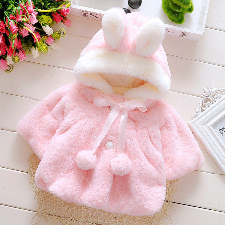 Baby Girl Winter Coat With Hood And Bunny Ears - pink