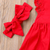 Baby Girl's Red Dress Bodysuit and Bow Headband
