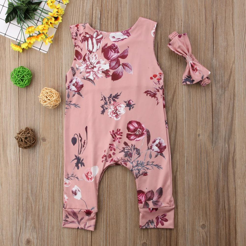 Baby Girl's Sleeveless Floral Romper & Headband Set