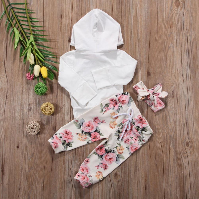 Baby Girls' 3pc Floral Hoodie, Jogger & Headband Set