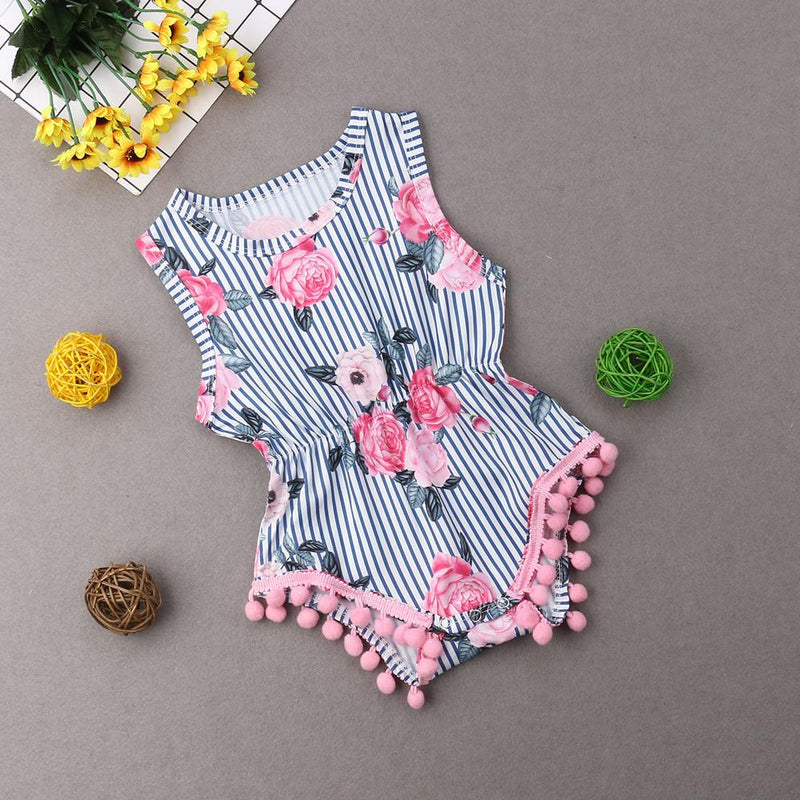 Baby Girls' Pink Pom Pom Striped Floral Romper