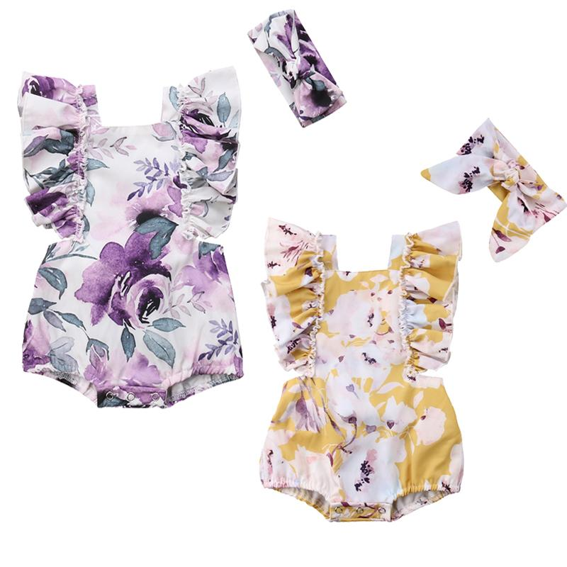 Baby Girls' Ruffle Floral Romper With Matching Headband